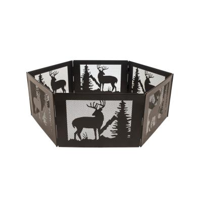 Deer Mountain Portable Folding 36 in. x 12 in. Hexagon Steel Wood Burning Fire Pit with Carrying Case