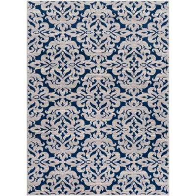 Elias Navy 7 ft. 10 in. x 10 ft. 3 in. Trellis Area Rug