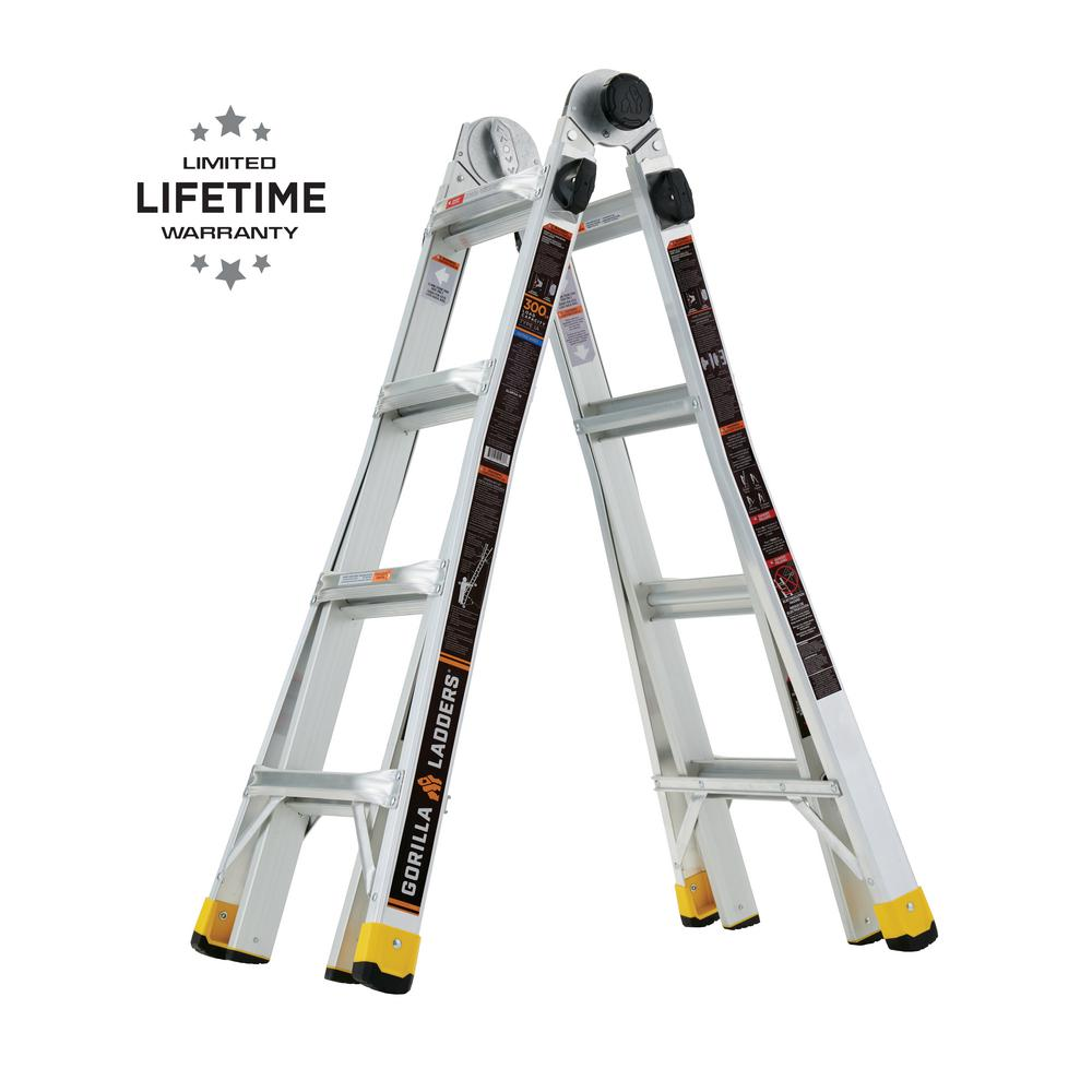 Gorilla Ladders Gorilla Ladders 18 ft. Reach MPX Aluminum Multi-Position Ladder with 300 lbs. Load Capacity Type IA Duty Rating