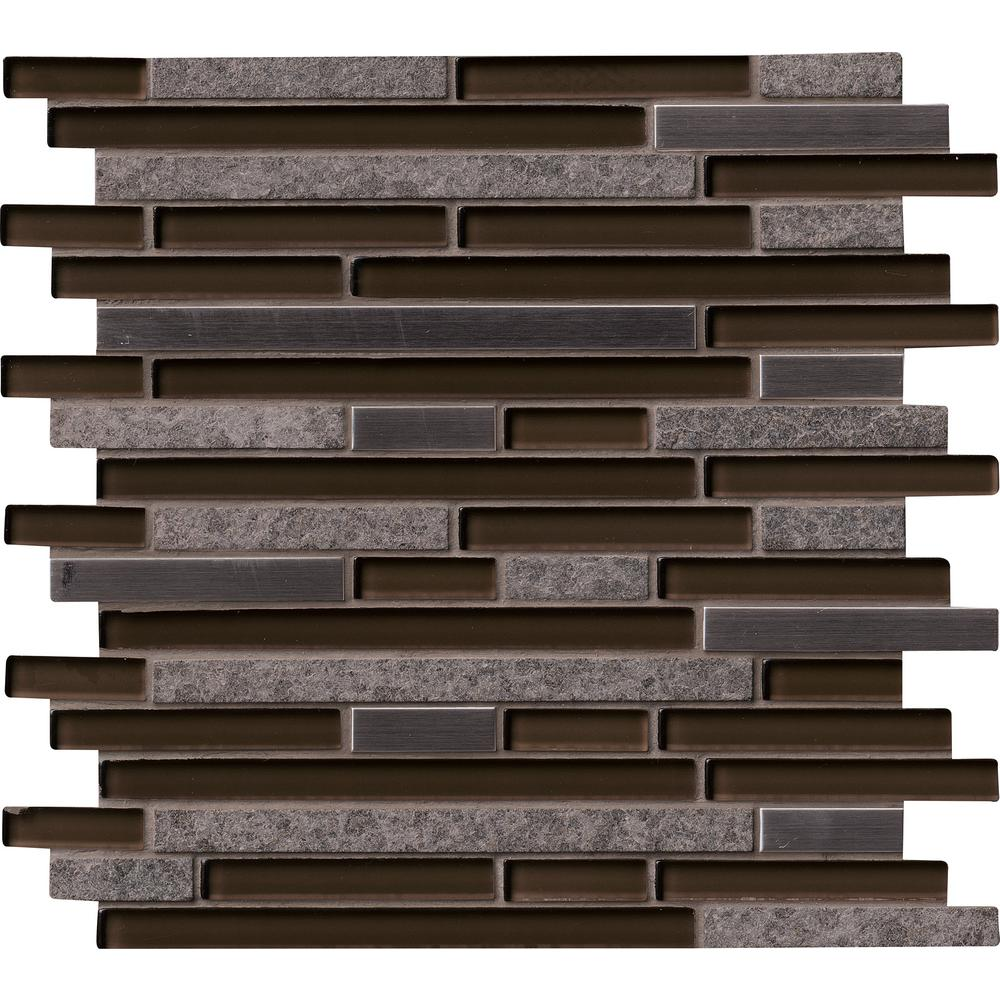 MS International Niagra Interlocking 12 in. x 12 in. x 8 mm Glass, Metal and Stone Mesh-Mounted Mosaic Tile (10 sq. ft. / case)