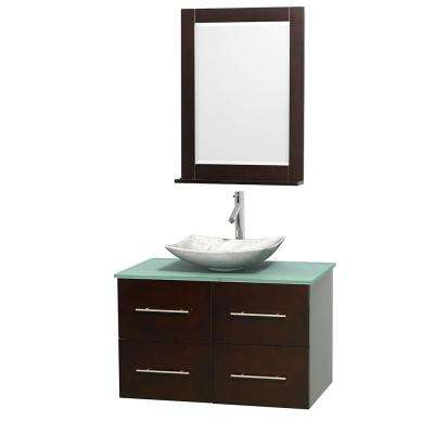 Centra 36 in. Vanity in Espresso with Glass Vanity Top in Green, Carrara White Marble Sink and 24 in. Mirror