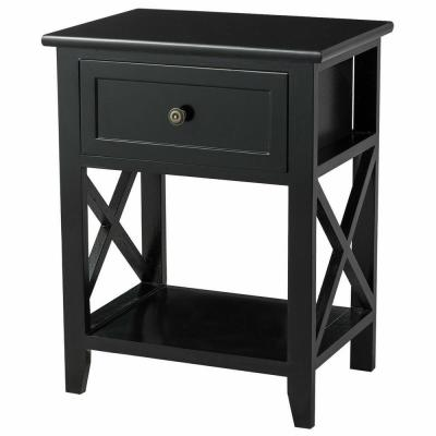 1-Drawer Black End Bedside Table Nightstand Drawer Storage Room Decor with Bottom Shelf 16 in. x 12 in. x 21 in.