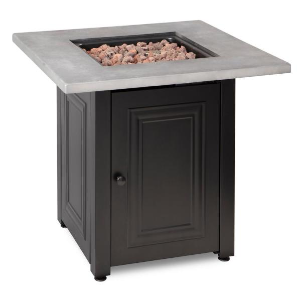 The Wakefield 28 in. x 24.8 in. Square Steel Base Resin Mantel LP Gas Fire Pit Table in Concrete Grey and Black