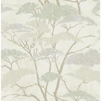 Confucius Metallic Silver and Pearl Tree Wallpaper