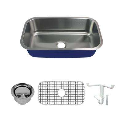 Meridian All-In-One Undermount Stainless Steel 31.5 in. Single Bowl Kitchen Sink in Brushed Stainless Steel