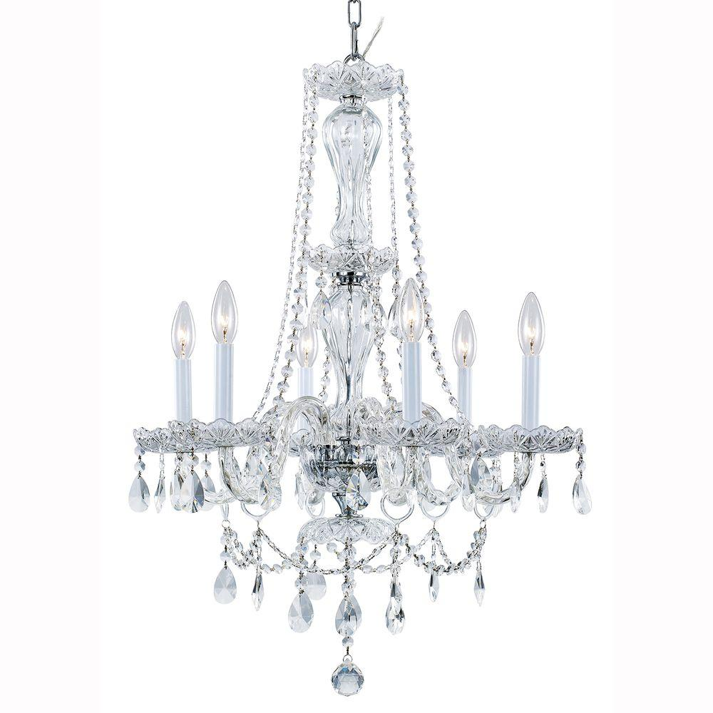 Home decorators collection 6 light chrome crystal chandelier 29360 lake point 6 light chrome and clear crystal chandelier aloadofball Images