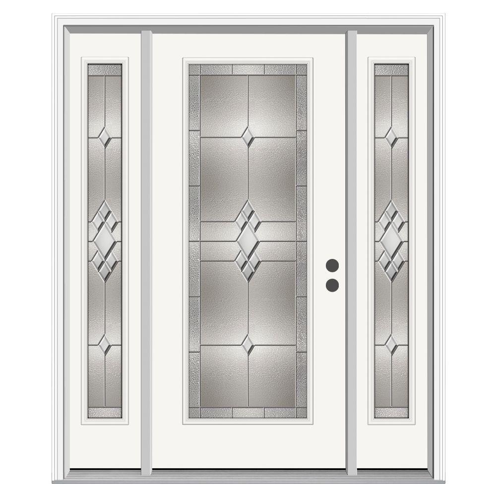 Kingston Full Lite Primed Steel Prehung Front Door with 14 in. Sidelites