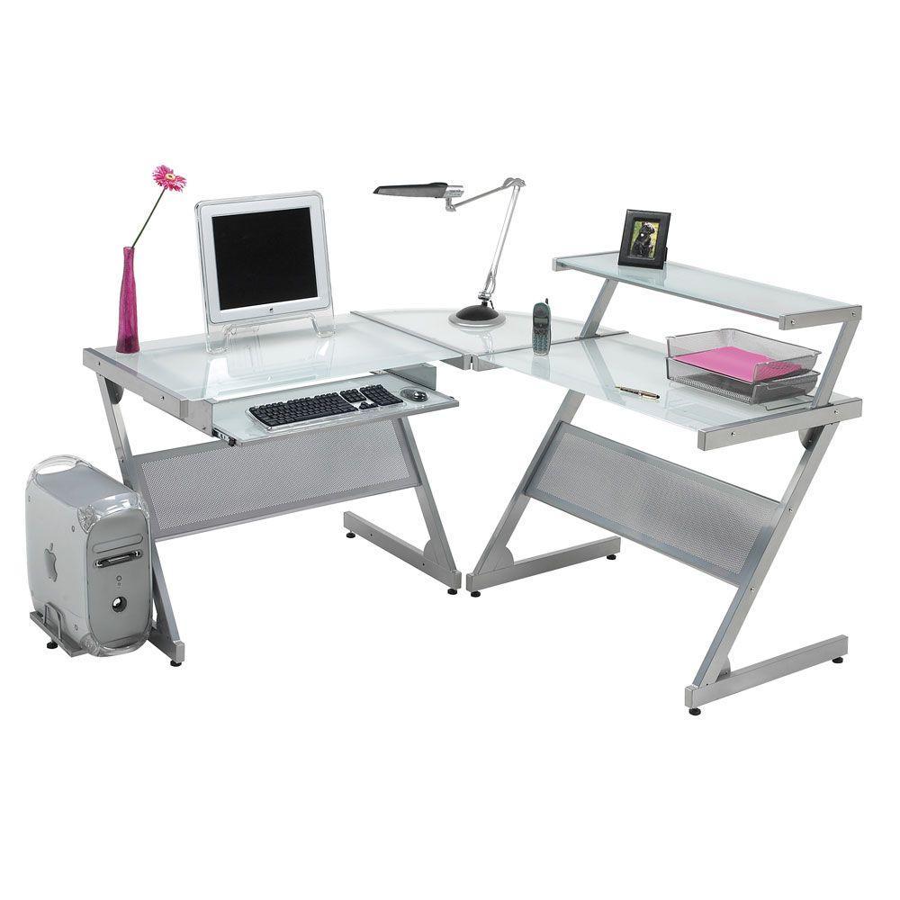 Filament Design Catherine L-Shaped Work Station Desk in Silver