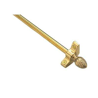 Plated Inspiration Collection Tubular 48 in. x 3/8 in. Polished Brass Finish Stair Rod Set with Pineapple Finials