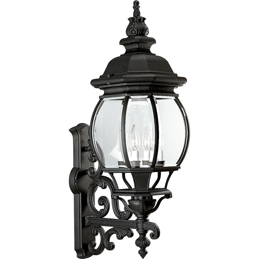 Progress Lighting Onion Lantern Collection 4 Light Outdoor Textured Black  Wall Lantern