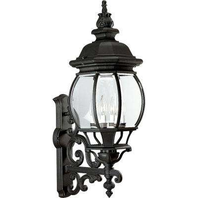 Onion Lantern Collection 4-Light 31 in. Outdoor Textured Black Wall Lantern Sconce