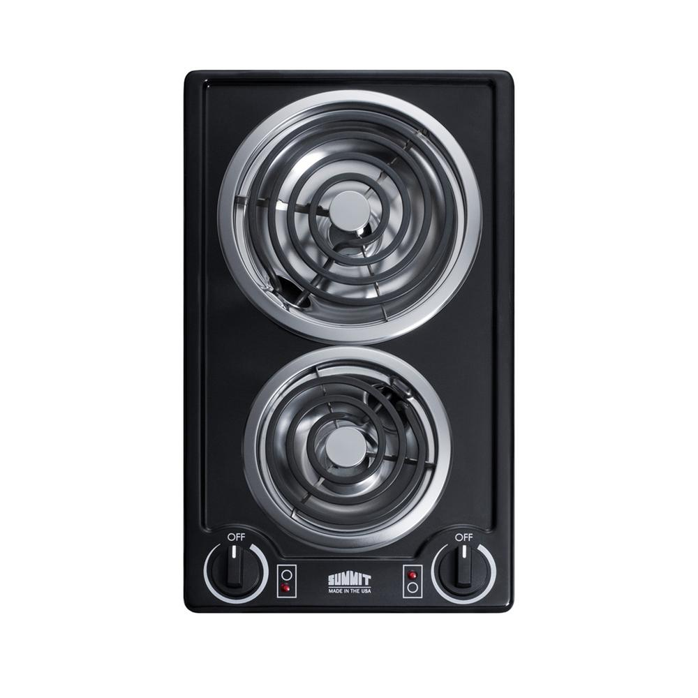 12 in. Coil Electric Cooktop in Black with 2 Elements