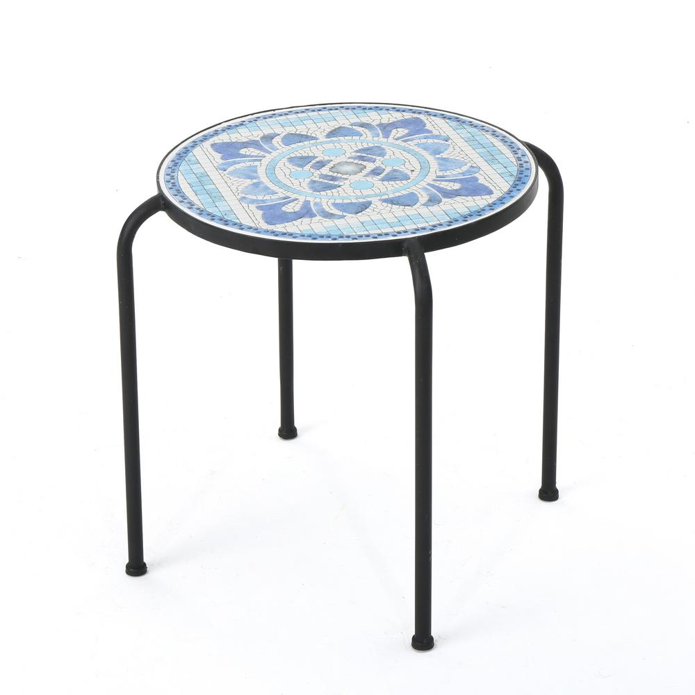 Noble house callie round metal outdoor side table