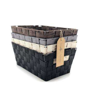 12 in. W x 8 in. D x 5.25 in. H Woven-Strap Multi Color Plastic Nested Baskets (Set of 4)