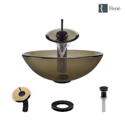 Glass Vessel Sink in Cashmere with Waterfall Faucet and Pop-Up Drain in Antique Bronze
