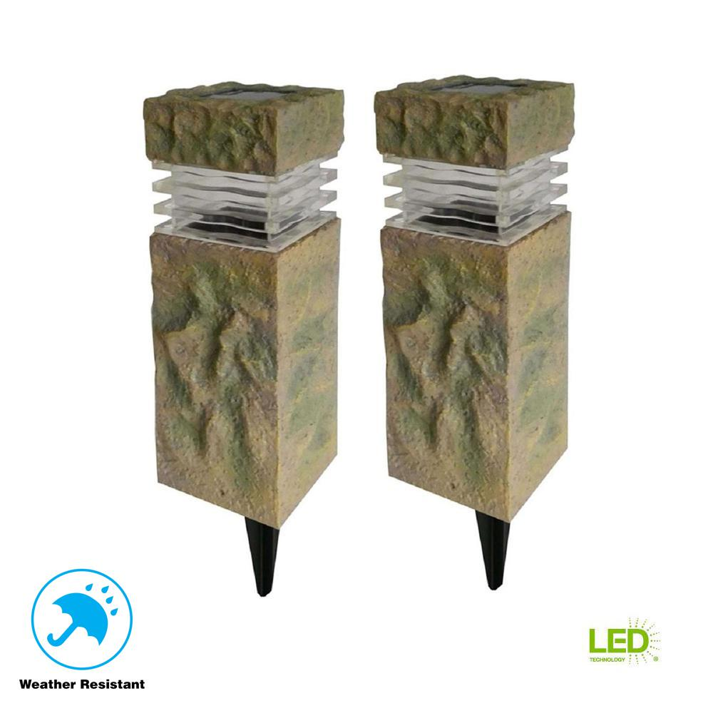 Hampton Bay Solar Sand Stone Outdoor Integrated Led Landscape Rock Pillar Path Light 2
