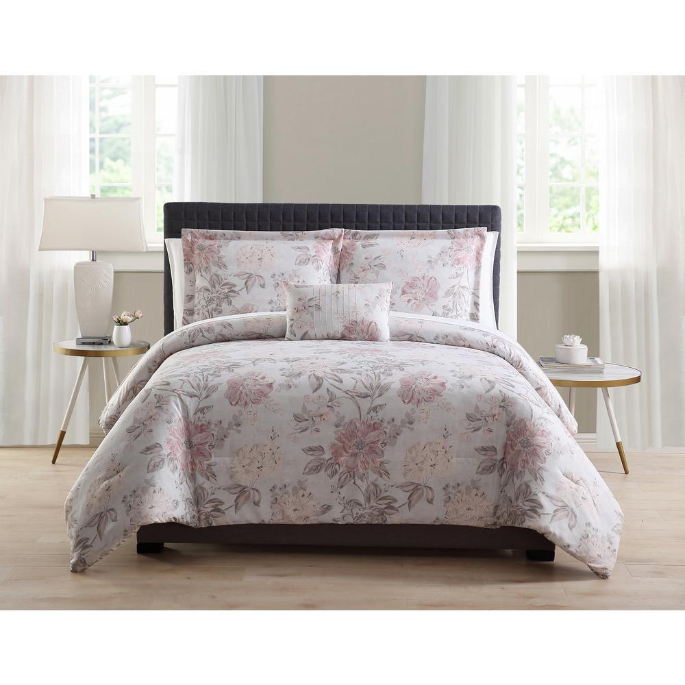 Morgan Home Mhf 8-Piece Grey/Blush King Bed in a Bag Set
