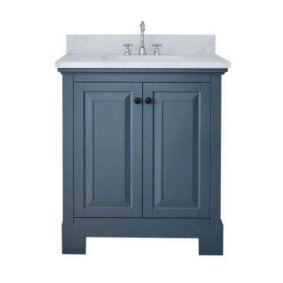Richmond 30 in. W x 22 in. D Bath Vanity in Gray with Marble Vanity Top in White with White Basin