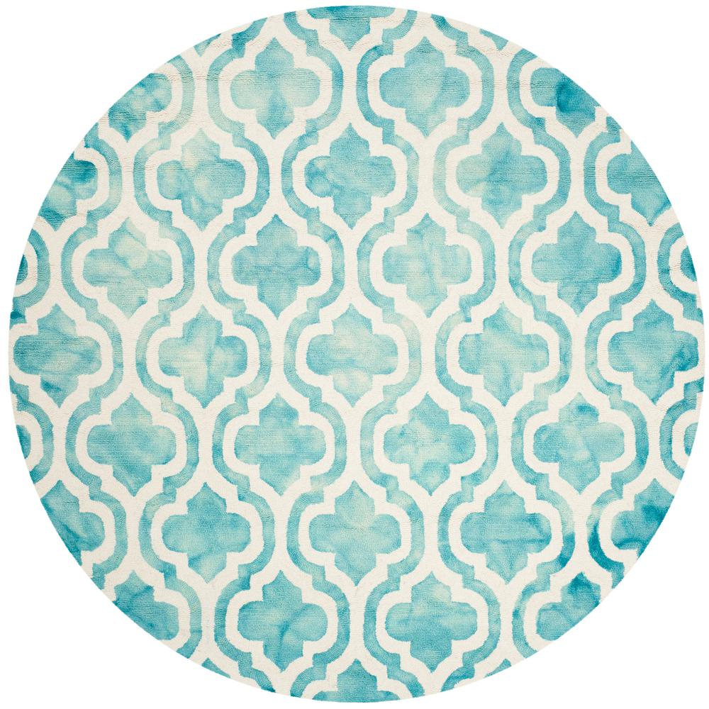 Safavieh Dip Dye Turquoise Ivory 7 Ft X Round Area Rug