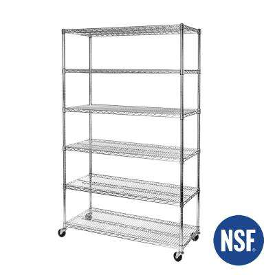 48 in W x 18 in D x 72 in H, UltraDurable Commercial-Grade 6-Tier Steel Wire Shelving with Wheels