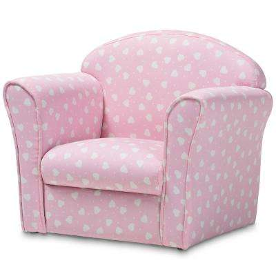 Erica Pink and White Heart Patterned Fabric Kids Armchair