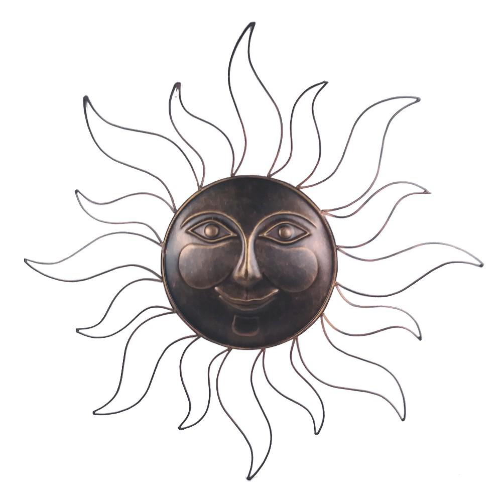 Sun Wall Art 31 in. Steel Bronze Sun Decorative Wall Art Decorate your home, garden, porch, patio, garage, fence or deck with this Large Metal Sun Bronze Decorative Wall Art. Bring the sun all year long. This impressive 31 in. bronze finished sun is made of durable metal and has remarkable detail. You will love how this piece of art will bring beauty and warmth to your home. Place it indoors or outdoors and decorate with the image of the sun.