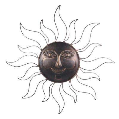 31 in. Steel Bronze Sun Decorative Wall Art