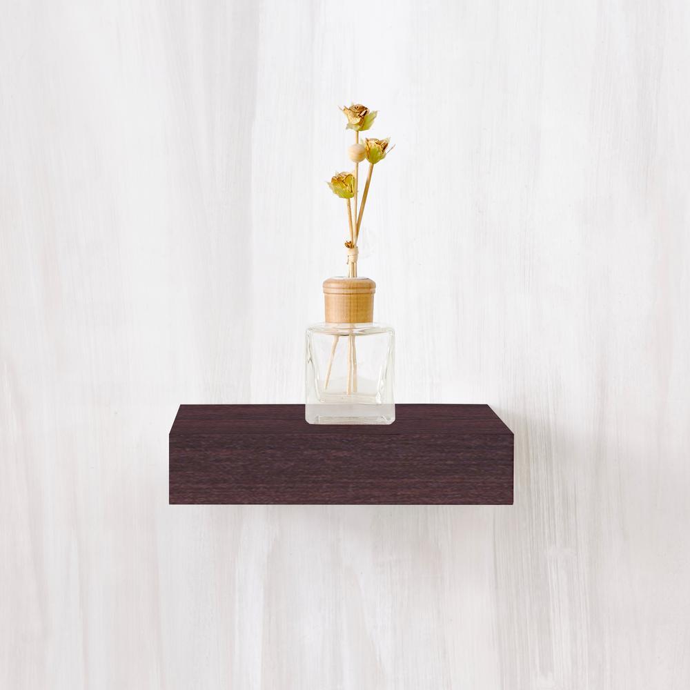 Amalfi 10 in. x 2 in. zBoard Paperboard Wall Shelf Decorative Floating Shelf in Espresso
