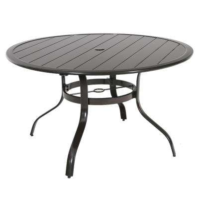 Commercial Aluminum 48 in. Round Outdoor Slat Top Dining Table in Brown