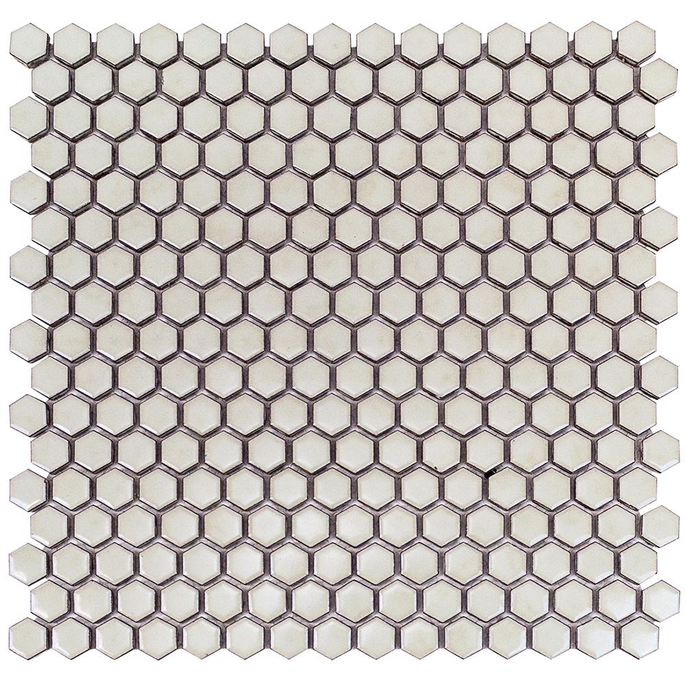 Bliss Edged Hexagon Polished Sage Ceramic Mosaic Tile - 3 in.