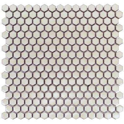 Bliss Edged Hexagon Polished Sage Ceramic Mosaic Tile - 3 in. x 6 in. Tile Sample
