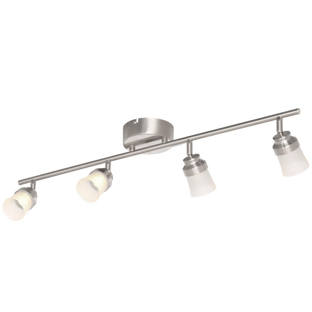 track lighting kit 3ft brushed nickel slim led track lights dimmable pivots head 46335012424 ebay. Black Bedroom Furniture Sets. Home Design Ideas