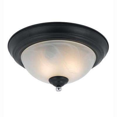 Athens 2-Light Black Flushmount with Chrome Accents