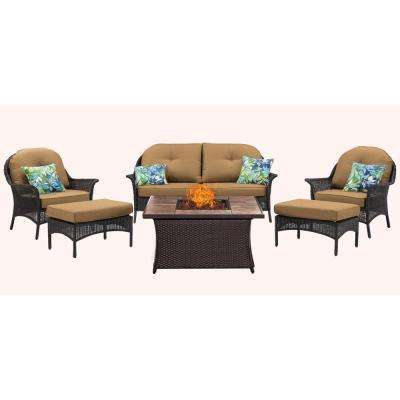 San Marino 6-Piece Woven Patio Seating Set with Tile-Top Fire Pit with Country Cork Cushions