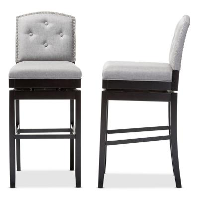 Ginaro Gray Fabric Upholstered 2-Piece Bar Stool Set