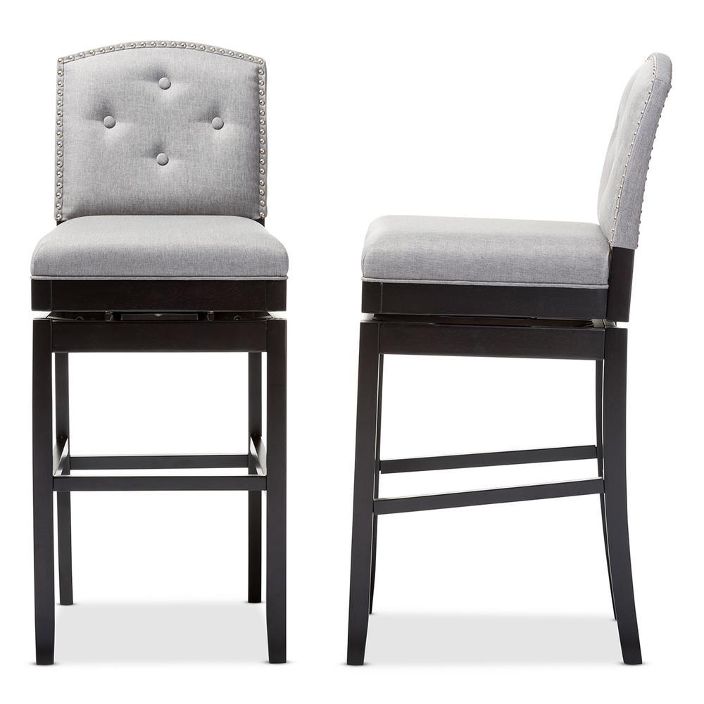 Ginaro Gray Fabric Upholstered 2-Piece Bar Stool Set