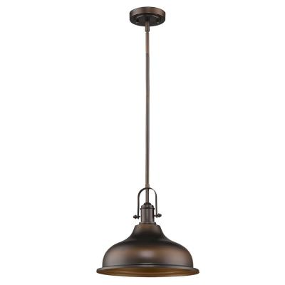 Virginia Indoor 1-Light Oil Rubbed Bronze Mini-Pendant with Metal Shade