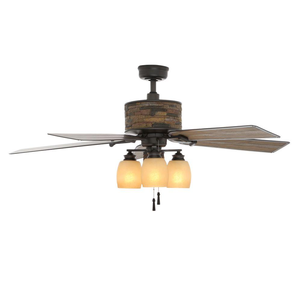 Indoor Outdoor Natural Iron Ceiling Fan With Light Kit