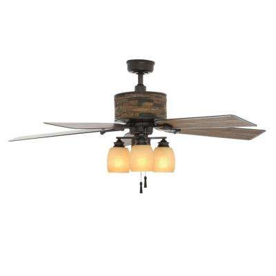 Ellijay 52 in. Indoor/Outdoor Natural Iron Ceiling Fan with Light Kit