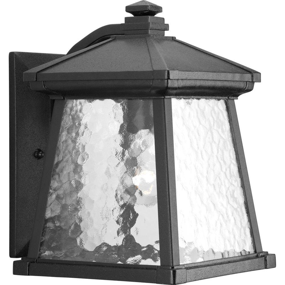 Progress Lighting Mac Collection 1-Light Black 12.25 in. Outdoor Wall Lantern