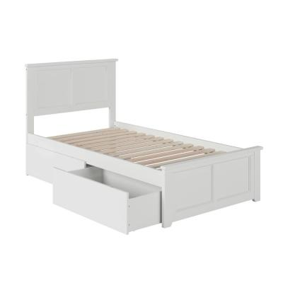 Madison White Twin Platform Bed with Matching Foot Board with 2-Urban Bed Drawers