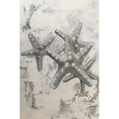 "20 in. x 30 in. ""Silver Starfish"" by Milo Printed and Painted Canvas Wall Art"