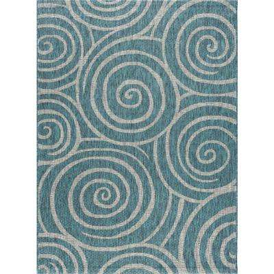 Veranda Aqua 5 ft. x 7 ft. Indoor/Outdoor Area Rug