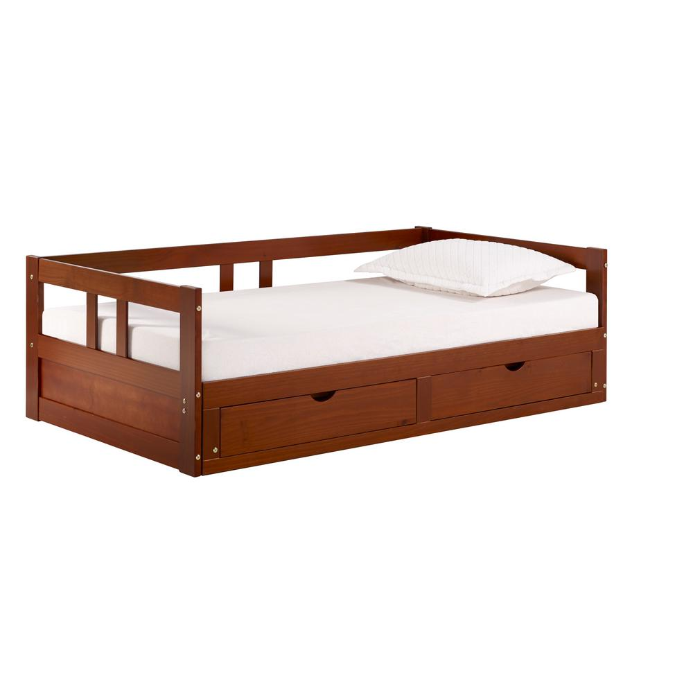 Alaterre Furniture Melody Chestnut Twin to King Bed with Under Bed Storage