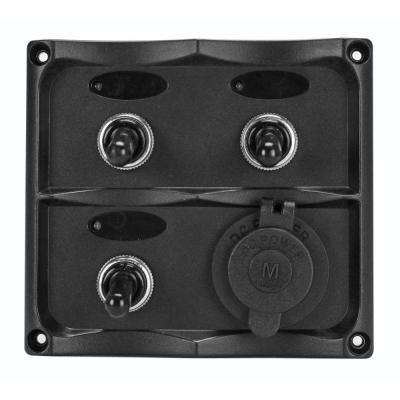 Marine Grade 12-Volt Toggle Switch Panel - 3 Toggle Switches and 1 Hermit DC Socket