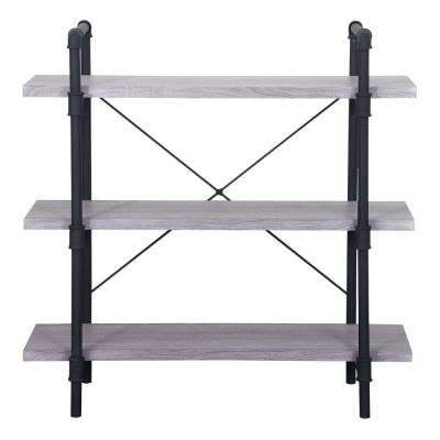 Indiana Industrial Light Gray 3-Tier Faux Wood Shelf with Metal Frame