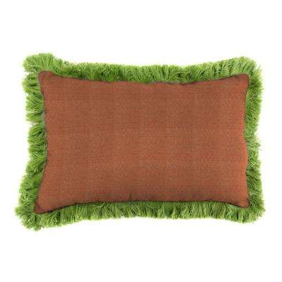 Sunbrella 9 in. x 22 in. Linen Chili Lumbar Outdoor Pillow with Gingko Fringe