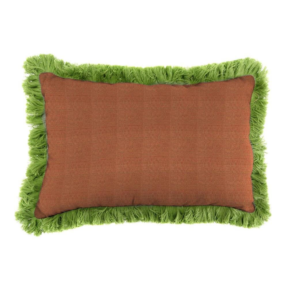Sunbrella 9 in. x 22 in. Linen Chili Lumbar Outdoor Pillow with Gingko Fringe