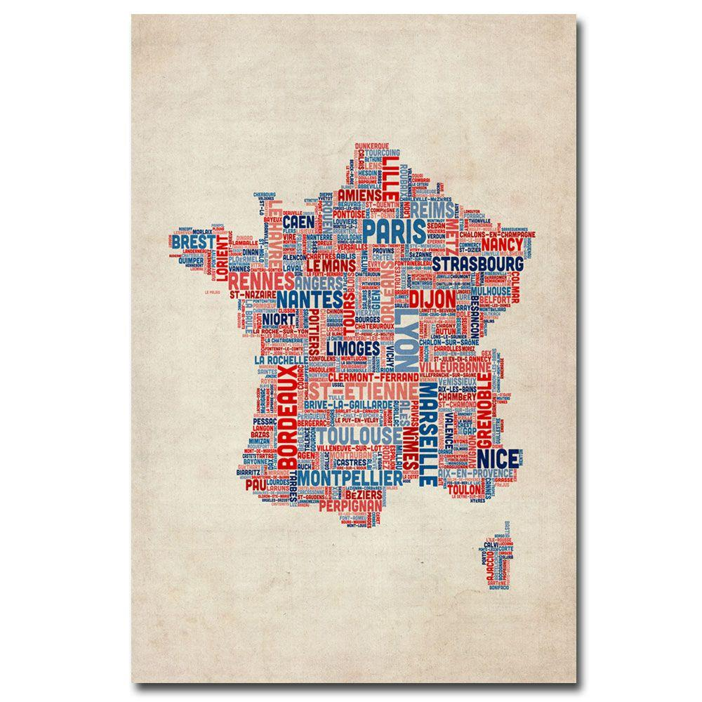 A Map Of France With Cities.Trademark Fine Art 16 In X 24 In France Cities Text Map Canvas