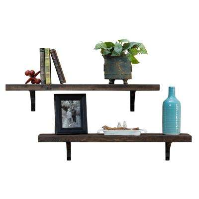Industrial Grace Simple 5.5in x 36in x 7in Dark Walnut Pine Wood Set of 2 Floating Decorative Wall Shelves with Brackets